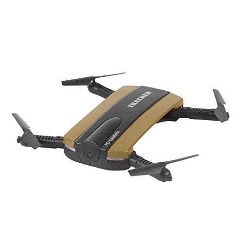 JXD 523Tracker Foldable Mini Selfie Drone WiFi FPV 0.3MP Camera Altitude Hold Quadcopter (Gold)