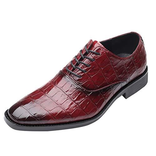 Celucke Derby-Schuhe Herren Schnürhalbschuhe Spitz Derbys in Kroko-Optik, Hochzeit Party Smoking Schuhe Männer Anzugschuhe Oxford Schnürschuhe Freizeitschuhe