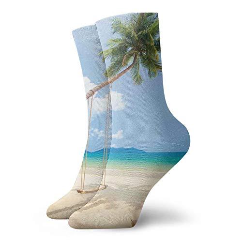 Calcetines suaves de longitud media pantorrilla, foto de una isla tropical con palmeras de coco y una decoración del hogar columpio de playa, calcetines para mujeres y hombres, ideales para correr