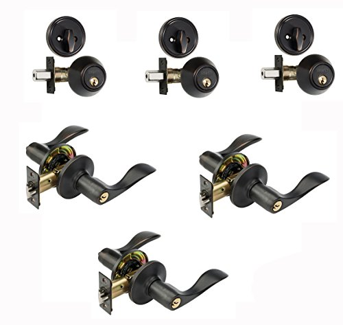 Dynasty Hardware V-CP-HER-12P, Heritage Front Door Entry Lever Lockset and Single Cylinder Deadbolt Combination Set, Aged Oil Rubbed Bronze - (3 Pack)
