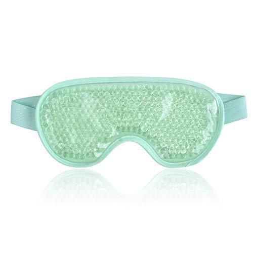 NEWGO®Cooling Eye Mask Gel Eye Mask for Puffiness Reusable Cold Eye Mask with Gel Bead for Hot Cold Therapy, Headache, Migraine, Stress Relief - Green