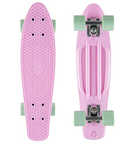 BIKESTAR Vintage Retro Cruiser Skateboard 60mm für Kinder und Erwachsene auch Anfänger ab ca. 6-8 Jahre | Pink & Mint