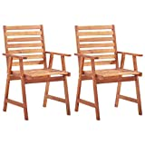 vidaXL 2X Solid Acacia Wood Outdoor Dining Chairs Weather Resistant Durable Slatted Design Garden Backyard Terrace Patio Dinner Chairs