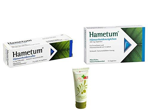 Sparset Hametum - Hämorrhoidensalbe 50 g & Zäpfchen 10 St. Inkl. GRATIS Rats-Apotheke Olivenöl Pflegecreme