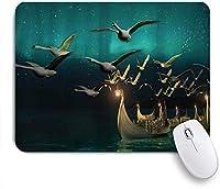 NIESIKKLAマウスパッド 人気のファンタジー中世エルフボートと魔法の鳥の白鳥が神秘的な冒険イラストを飛んで ゲーミング オフィス最適 高級感 おしゃれ 防水 耐久性が良い 滑り止めゴム底 ゲーミングなど適用 用ノートブックコンピュータマウスマット