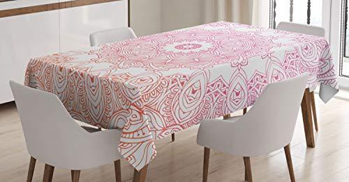 ABAKUHAUS Mandala Mantele, Esquema Flores del Estilo, Resistente al Agua Lavable Colores No Destiñen Personalizado, 140 x 200 cm, Naranja Rosa Blanco
