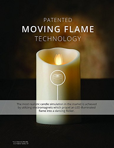 """Veraflame 7"""" H Cinnamon Scented Oblique Edge Moving Flame LED Wax Candle, Red"""