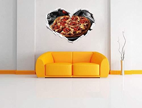 Pegatinas de pared Deliciosa pizza de salami recién salida del horno en forma de corazón en blanco y negro con aspecto 3D Etiqueta de la pared o de la puerta etiqueta de la pared decoración 92x64cm