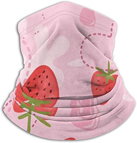 Multifunctionele Nek Warmer Xmas Present Winddicht Gezichtsmasker Winter Snood Sjaal Loop Wikkel Outdoor Fietsen Hoed Sjaals voor Mannen of Vrouwen | Aardbei Yoghurt Liefde Roze