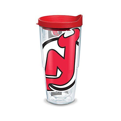 """Tervis """"NHL Nj Devils Colossal"""" Tumbler with Red Lid, Wrap, 24 oz, Clear"""