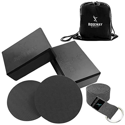 Yoga Block And Strap Set  Gift 6 Piece Accessories High Density Foam Brick Pilates Eva Non Toxic Eco Friendly Beginners Stretching Prime Pads Supplies Elbow Knee With Travel Laundry BagBlack