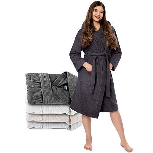 Twinzen Bademantel Damen - S - DarkGrau - 100% Baumwolle (350g/m²) Oeko-TEX® Zertifiziert - Bademantel mit Kapuze, 2 Taschen, Gürtel