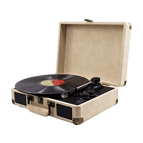 Feixunfan Tocadiscos Fonógrafo Retro Grabación De Vinilo Grabado Electro-mecánico Jugador De Maleta Registrador De Maleta para Discos de Vinilo (Color : Khaki, Size : 35X22.5X13CM)