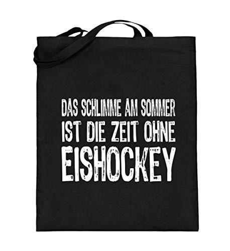 Eishockey Shirt Lustig - Das schlimme am Sommer ist die Zeit ohne Eishockey - Jutebeutel (mit langen Henkeln) -38cm-42cm-Schwarz