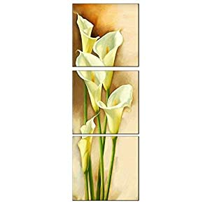 Amoy Art -3 Panels Calla Lily Vertical Flowers Painting Prints on Canvas Wall Art Modern Stretched and Framed Pictures Paintings Artwork for Living Room Easy to Hang (48″ H x16 W)