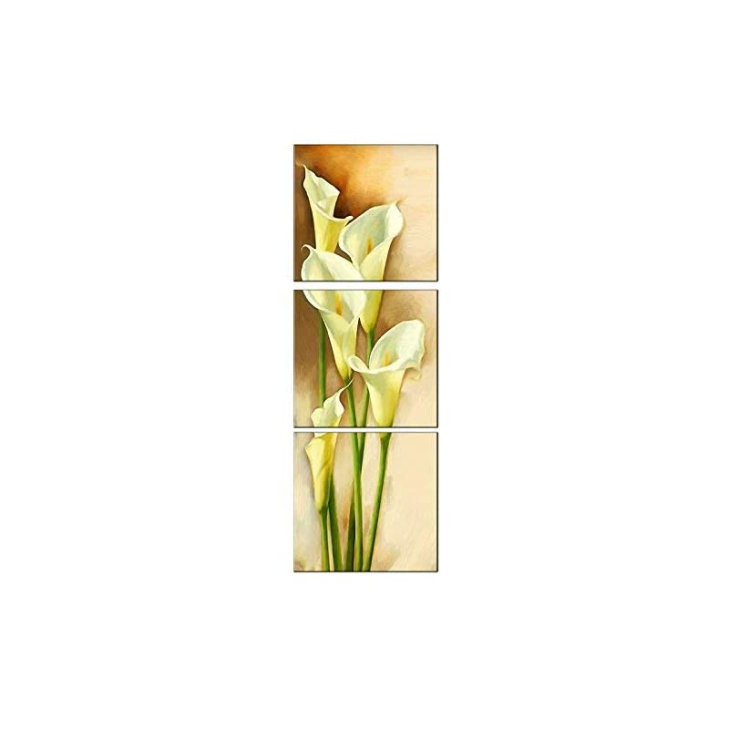 """silk flower arrangements amoy art -3 panels calla lily vertical flowers painting prints on canvas wall art modern stretched and framed pictures paintings artwork for living room easy to hang (48"""" h x16 w)"""