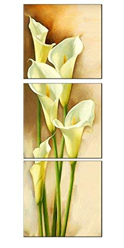 Amoy Art -3 Piece Yellow Calla Lily Flowers Modern Painting Prints on Canvas Wall Art Vertical Stretched and Framed Pictures Artwork for Living Room Easy to Hang (12x12inch x3pcs)