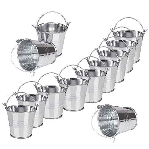 Mini cubos de metal 12 Piezas Pequeños cubos de metal Para Plantas De Jardinería Decoración De Fiestas En Casa 7,5 x 8 x 5,5 cm