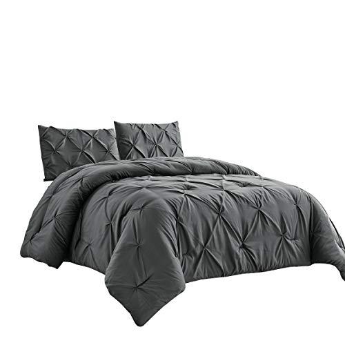 WPM 3 Piece Microfiber Comforter Set Pinch Pleat Pintuck Down Alternative Bedding - All Season Grey Bedroom Decor- JN1 (Grey, Queen)