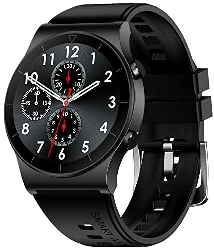 Reloj Inteligente, Reloj rastreador de Ejercicios a Prueba de Agua IP67 con podómetro de presión Arterial, Reloj Deportivo para Hombres y Mujeres (Negro)