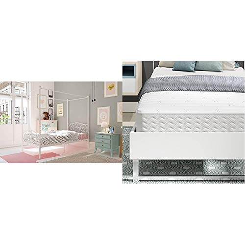 DHP Canopy Bed with Sturdy Bed Frame, Metal, Twin Size - White with Signature Sleep Contour Encased Mattress, Twin, White