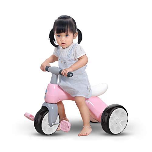 GYF Fácil de Llevar Regalos a los niños de Juguete de Tres Ruedas Muchacha de los niños de 1 a bebé de 3 años de Edad, Amor Walker niño (Color : Pink)