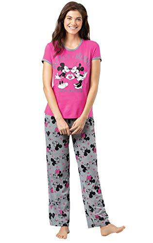 PajamaGram Disney Pajamas Women - Disney PJs for Women, Minnie Mouse, Pink 12-14