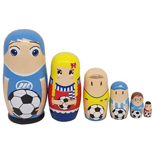 TOPCOMWW 6 Pieces Novelty Russian Nesting Wooden Matryoshka Doll Set Cute Football Player Wooden Russian Nesting Dolls Baby Toys Set