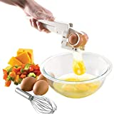 Egg Separators|Handheld Egg Whisk Tool|Easily Opening Creative Egg Shell Cracker ABS Stainless Steel,Automatic Egg Cracking Opener,Home Use Accessorie Tools,Kitchen Supplier White