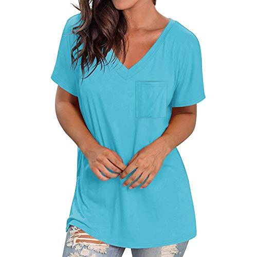 Camiseta para mujer, cuello en V, manga corta, verano, sólida, holgada, elegante, para adolescentes, niñas, con bolsillos, holgada, holgada, informal, deportiva, túnica, azul claro, XL