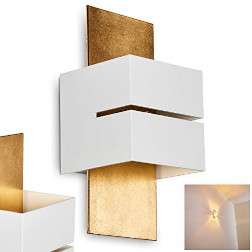 Wandlampe Tora aus Metall in Weiß/Gold mit Schlitz, moderne Wandleuchte mit Lichteffekt, 1 x G9-Fassung, max. 28 Watt, Cube/Innenwandleuchte mit Up & Down-Effekt, geeignet für LED Leuchtmittel