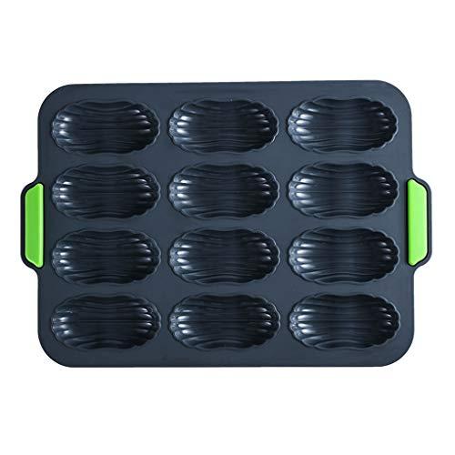 zhibeisai 12 cuadrículas Madeleine Molde de Silicona Antiadherente hornada de la Torta de la Bandeja de microondas Recipiente para Hornear con los oídos portátiles, Verde