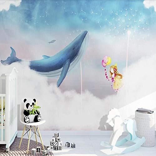fotobehang Nordic sky witte wolk walvis meisje paardebloem achtergrond muur kinderkamer decoratie paintin,200X140cm
