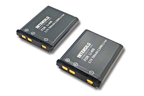 INTENSILO 2X Li-Ion batería 700mAh (3.7V) para cámara Olympus VR310, VR-310, VR320,...