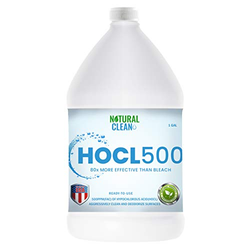 Natural Clean HOCL500 (1-Gallon), Hypochlorous Acid (500 PPM) Professional Surface Cleaner for Home Use, Medical and Dental Offices, Gyms and Schools