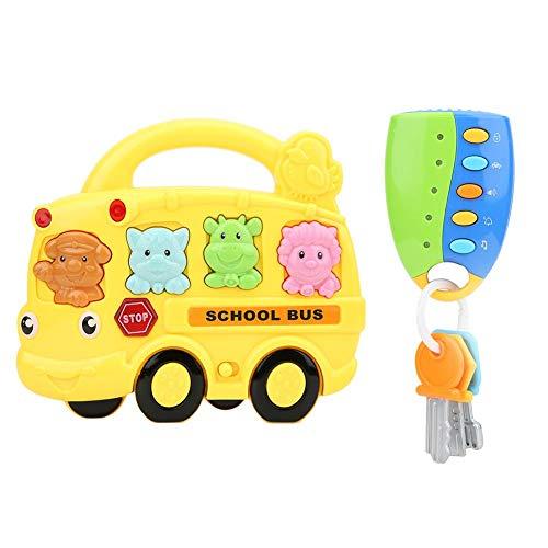 Juguete Volante Plástico Sonidos Diferentes Sonido-Luz Llave de Juguete Control Remoto Simular Coche(Bus Yellow + Random Key)