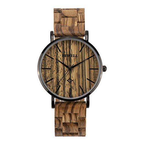 Leyue Reloj de Madera Relojes de Pulsera de Cuarzo analógico para Hombre Reloj de Pulsera de Madera a Mano Liviana WTIH Ajustable Zebra Strap Ajustable (Color: B) (Color : A)