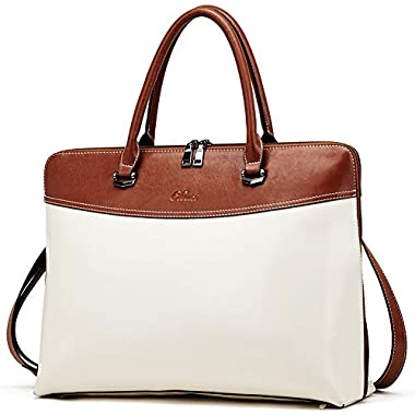 CLUCI Briefcase for Women Oil Wax Leather 15.6...