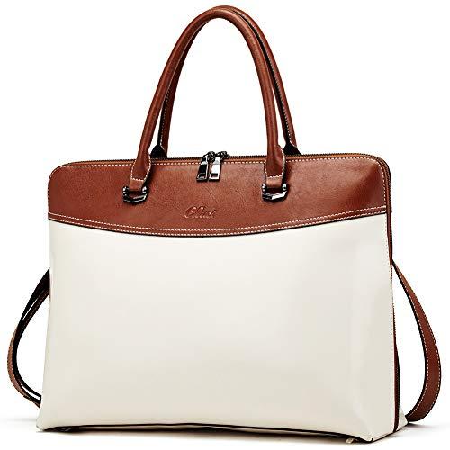 CLUCI Aktentasche Damen Ölwachs Leder Laptoptasche 15,6 Zoll Arbeitstasche Groß Vintage Schlanke Frauen Businesstasche Reisetasche Beige mit Braun