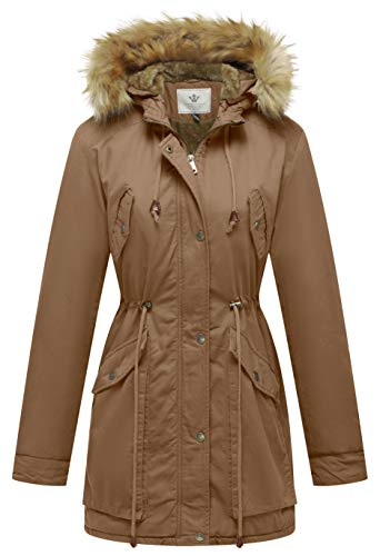 WenVen Women's Warm Winter Faux Fur Lined Drawstring Parkas Jacket(Khaki,XL)