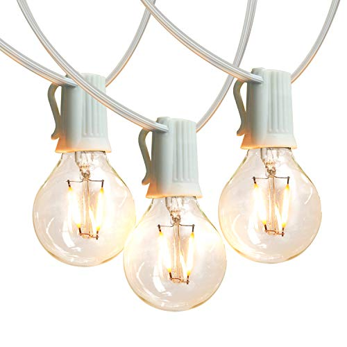 Brightech Ambience Pro - White, LED Globe Outdoor String Lights - Waterproof, 1W Vintage Edison Bulbs - 26 Ft Patio Lights Create Cafe Ambience in Your Backyard
