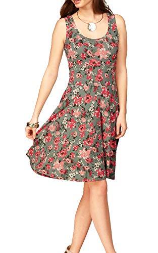 Uniquestyle Damen Ärmelloses Beiläufiges Strandkleid Sommerkleid Tank Kleid Ausgestelltes Trägerkleid Knielang (Floral, XXL)