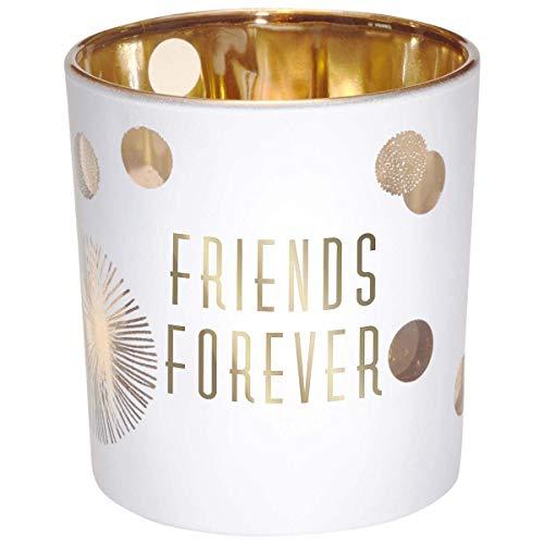 Draeger - Porte Bougie - Photophore Verre à offrir en cadeau à vos proches - Support Bougie en verre Blanc Et Doré - H8 x L7,5 cm message friends forever