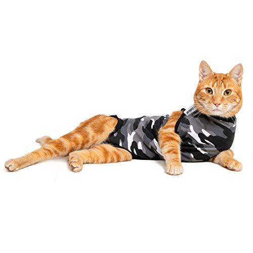 Suitical Recovery Suit, Katzen-Anzug zur Rehabilitation, Größe S, Schwarz-Camouflage