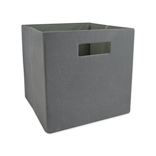 DII Hard Sided Collapsible Fabric Storage Container for Nursery, Offices, & Home Organization, (11x11x11) - Solid Gray