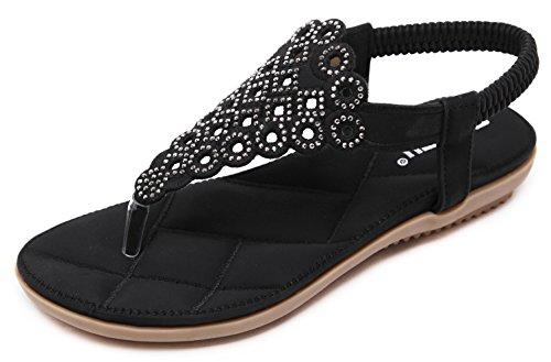 Women's Summer Thong Flat Sandals Glitter Rhinestones, Black T-Strap Flip Flops Bohemian Floral Rivets Comfy Elastic Back Strap, Anti Skid Cushioned Low Top Beach Wear Shoes 2018 Holiday Match,Black,7.5 M US