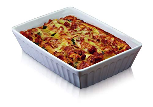 KitchenCraft World of Flavours Lasagne Form, Stein, Weiß, 33 x 23 cm
