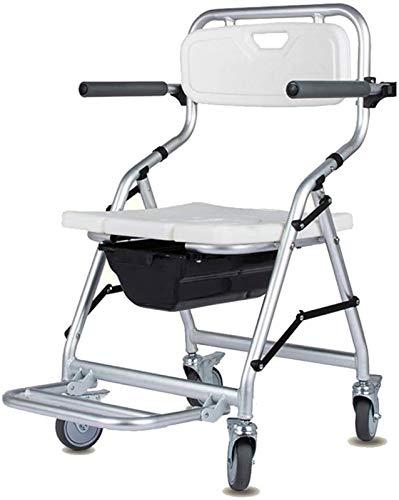 HMMN Silla de Inodoro con Ruedas Plegables, Impermeable, Usado para Personas Mayores discapacitadas Embarazadas