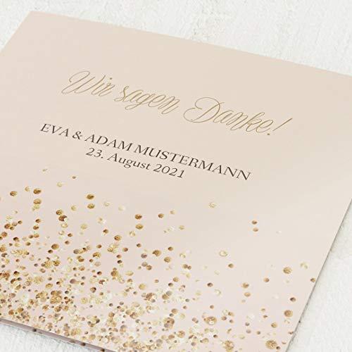 Danksagung zur Hochzeit, Goldsprenkel, 5er Klappkarten-Set, personalisiert mit Wunschtext, wahlweise mit persönlichen Bildern & Goldfolien-Veredelung, optional mit passenden Design-Umschlägen