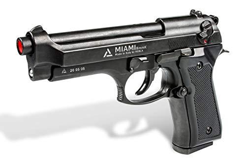 REBLA Pistola a Salve Scacciacani Beretta 92 Miami M9 Calibro 8 mm Knal Semiautomatica Azione Singola/doppia, Pistola Da Starter Nera In Metallo Caricatore Bifilare 14 Colpi/ Pistola Scaccia Piccioni.